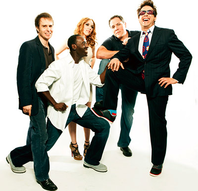 Don Cheadle, Jon Favreau, ... | SAM ROCKWELL, DON CHEADLE, SCARLETT JOHANSSON, DIRECTOR JON FAVREAU, AND ROBERT DOWNEY JR., Iron Man 2