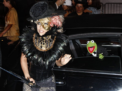 Lady Gaga | The always avant-garde Gaga arrived on the red carpet with...Kermit the Frog. ''He's been a really good date,'' she deadpanned. ''I mean, it's our first…