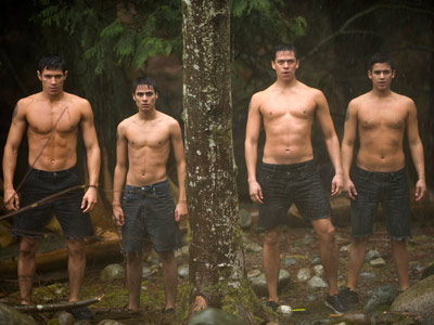 The Twilight Saga: New Moon | The Wolf Pack, minus Jacob, stands united with honor and without shirts. Actors Alex Meraz, Kiowa Gordon, Chaske Spencer, and Bronson Pelletier would have just…