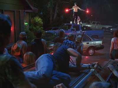 True Blood | Episode 10, ''New World in My View'' The often-comic duo of Jason and Andy were never funnier than when, trying to control the frenzied citizenry…