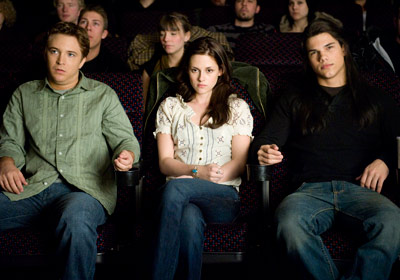 Taylor Lautner, Kristen Stewart, ... | Mike Newton (Michael Welch) and Jacob (Lautner) seem to be enjoying themselves, but it looks like Bella (Stewart) would have preferred to wait for the…