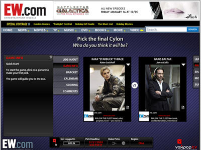 Sponsorship of Editorial SyFy ?Pick the Final Cylon? Bracket Game.