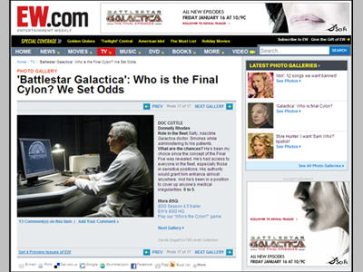 Editorial Photo Gallery sponsorship 2 of 2: SyFy/BSG ?Who is the Final Cylon? We Set Odds?