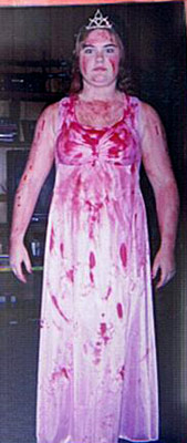 Carrie (Movie - 1976) | Melanie Bridges from Crossville, TN ''I dressed up as my favorite Stephen King character, Carrie, for a Halloween costume party in 1995. I took a…
