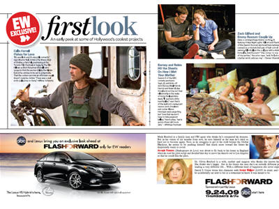 ABC ran a series of 1/3rd spreads promoting the premiere of Flash Forward in EW's First Look.
