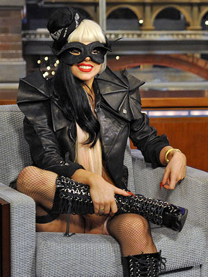 Lady Gaga | In trademark Gaga style and skimpiness — a leather jacket, a Zorro mask, and not much else — she chatted with David Letterman about the…