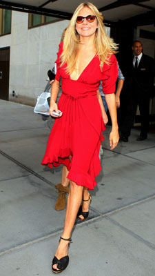 Sienna Miller | WEARING: Zac Posen That same day, she headed to NBC in a flirty red number that plunged to (too?) daring depths. Grade: B+