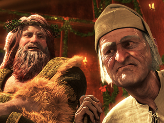 Jim Carrey, A Christmas Carol | RATTLE AND HUMBUG Jim Carrey as both the Ghost of Christmas Present and Scrooge in Disney's A Christmas Carol