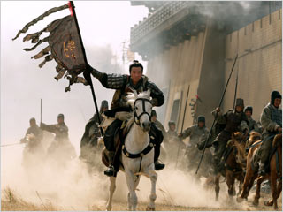 Jun Hu, Red Cliff   RIDE FOR RUIN, AND THE WORLD'S ENDING! That's no white flag that Jun Hu is waving in Red Cliff