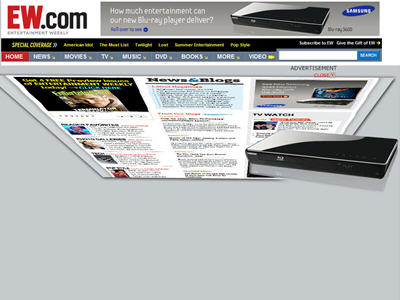 "Through a rich media 300x250 ad (auto-initiated), Samsung's ad appeared to ""consume"" the contents of the EW.com homepage into the Blu-ray player."