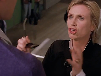 Glee, Jane Lynch | ''I don't trust a man with curly hair. I can't help picturing small birds laying sulfurous eggs in there, and I find it disgusting.''