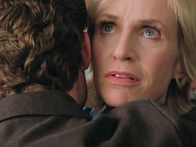 Glee, Jane Lynch | Will: ''I will destroy you.'' Sue: ''I am about to vomit down your back.'' — Sue and Will, whispering into each other's ear while forced…