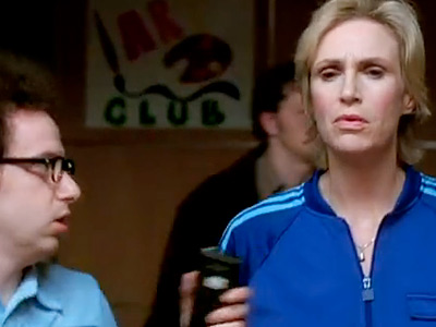 Glee, Jane Lynch | ''If I have a pregnant girl doing a handspring into a double layout, the judges aren't going to be admiring her impeccable form, they're going…