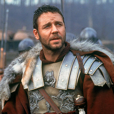 Gladiator, Russell Crowe | A sword-and-sandaled Russell Crowe duked it out with tigers, blood-thirsty warriors, and a nefarious Roman emperor (Joaquin Phoenix) in this Oscar-winning blockbuster. Were you not…