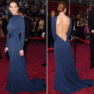 Hilary Swank   [I'd include] Hilary swank's blue, plunging-back Oscar dress [in 2005] for sure. — scott nelson
