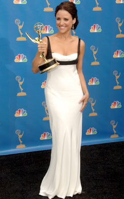 Julia Louis-Dreyfus | Julia Louis-Dreyfus at the Emmys (2006) Narciso Rodriguez' figure-hugging gowns would become a staple on the red carpet, but first there was this: the smart…