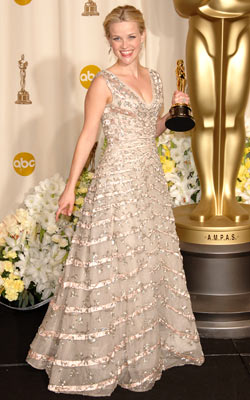 Reese Witherspoon   The gown that Reese Witherspoon wore to the Oscars for Walk the Line (or really anything she has worn on the red carpet that year…