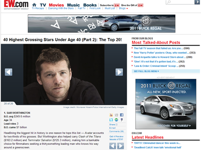 The ad unit linked to a EW.com ?40 Highest Grossing Stars under 40? photo gallery that Buick owned exclusively