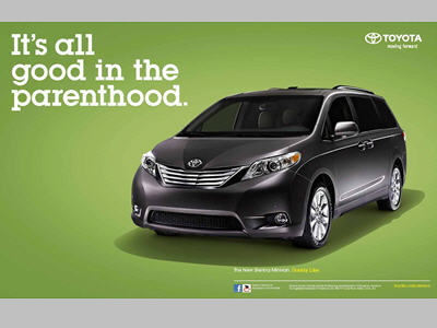Three Toyota Sienna spreads were created specifically for the EW booklet (8/6/10 issue).
