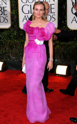 Golden Globe Awards 2010 | DIANE KRUGER We want to give this usual red carpet all-star the benefit of the doubt, so maybe she knocked over a bottle of Pepto-Bismol…