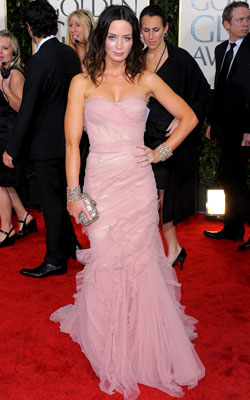 Golden Globe Awards 2010 | EMILY BLUNT The blushing pink and rough-cut ruffles of this Dolce & Gabbana made a winning combination for the Young Victoria star. Grade: A