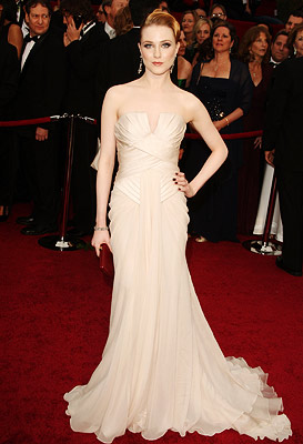 Oscars 2009, Evan Rachel Wood | Evan Rachel Wood It's a bold move for someone as pale as the Wrestler star to turn up in a practically matching alabaster gown. But,…