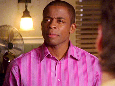 Psych, Dule Hill | Somehow, Gus manages to pull off wearing tops that could, in other countries, be called chemises. Or, in this country, be found on contestants on…