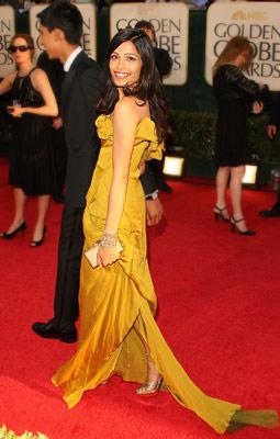 Golden Globe Awards 2009, Freida Pinto | Freida Pinto in 2009 The Slumdog Millionaire star put herself on the fashion map in this fabulously mustard-hued Christian Lacroix.
