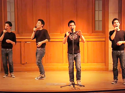 Glee | MULTIPLE PERSONALITIES YouTube singin' star Sam Tsui covers ''Don't Stop Believin''' — and edits the video so that there are five Sam Tsuis performing onstage…