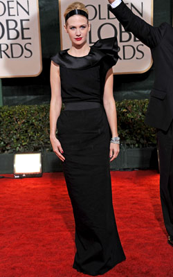 Golden Globe Awards 2010 | JANUARY JONES While retro-cool, this Lanvin gown was just a little too dour for such a festive night. And not even Blair Waldorf could love…