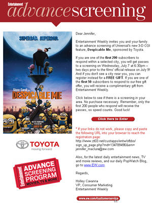 Email blast sent to over 250,000 subscribers directed readers to enter for their screening pass