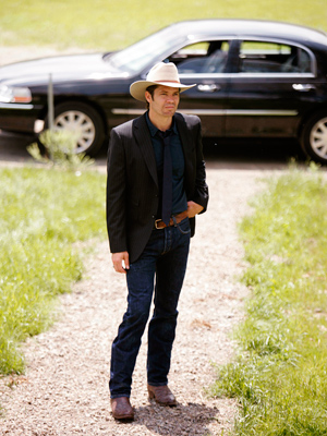 Justified, Timothy Olyphant | The nominees for Best Actor in a Drama Series will be... Timothy Olyphant, Justified Bryan Cranston, Breaking Bad Michael C. Hall, Dexter Hugh Laurie, House,…