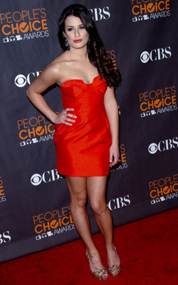 Lea Michele | LEA MICHELE Making us forget about her character Rachel's geek-chic wardrobe, Glee 's Lea Michele sizzled in a red bustier strapless mini. A+