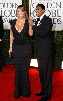 Golden Globe Awards 2010   MARIAH CAREY with husband Nick Cannon What do you think of this look? ( polls )
