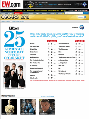 Upon clicking the CTA in the gallery, users are taken to this page containing the on-screen version of the Oscar scorecard, which includes prominent HP…
