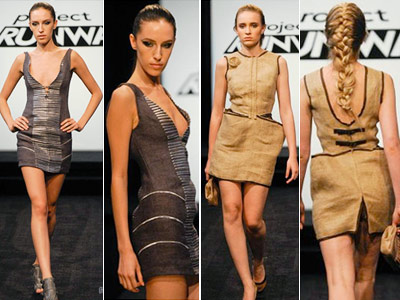 Project Runway | p> Project Runway recap: Getting Sacked It's all about boobs and butts when the designers make cocktail outfits out of potato sacks Mila's peek-a-boo bodice…