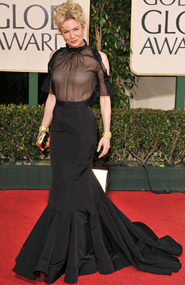Golden Globe Awards 2009, Renee Zellweger | WORST Renée Zellweger While she stuck with her go-to designer, Carolina Herrera, the actress tried something new, and nude, with this silhouette. It didn't work.