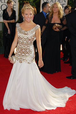Sienna Miller | Sienna Miller in 2007 The British actress played the role of Grecian goddess for the night in a metallic-printed Marchesa and a coil of braids.