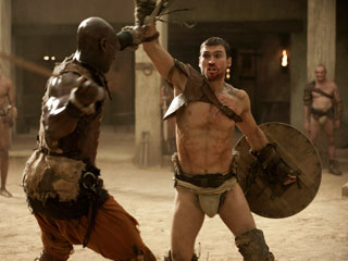 Spartacus: Blood and Sand, Spartacus: Blood and Sand | WARRIORS Andy Whitfield (right) plays the sweaty, brooding title character in Spartacus .
