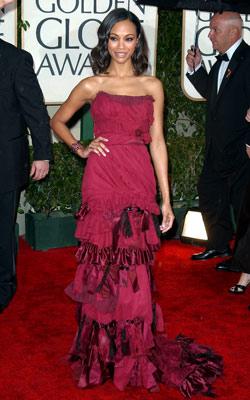 Golden Globe Awards 2010 | ZOË SALDANA While Saldana's dress has a touch of razor-edge glamour, the bottom looks more quilt than couture. Grade: C+