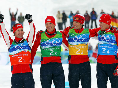Winter Olympics 2010 | DAY 12 WINNERS: Brett Camerota, Todd Lodwick, Johnny Spillane, and Bill Demong SPORT: Nordic Combined Skiing WHY THEM: Still don't know what Nordic Combined is?…