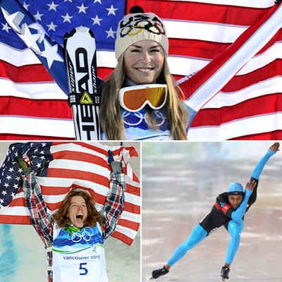 Shaun White, Winter Olympics 2010 | DAY 6 WINNERS: Lindsey Vonn, Shani Davis, and Shaun White SPORT: Skiing, Long-track Speed Skating, Snowboarding WHY THEM: A three-way tie! Alpine ski racer Lindsey…