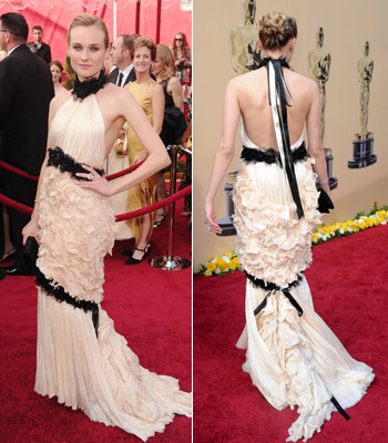 Diane Kruger | DIANE KRUGER Yes, Kruger's Chanel halter gown was divided into three parts, but there was no harmony here. Grade: C-