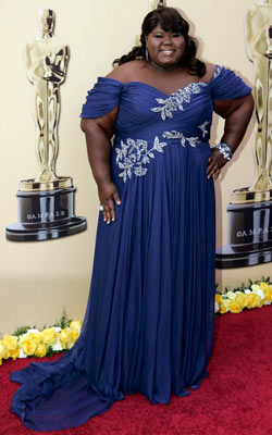 Gabourey Sidibe, Oscars 2010 | Picking one of the most popular colors of the night, the Best Actress nominee shined in an off-the-shoulder Marchesa. Grade: A