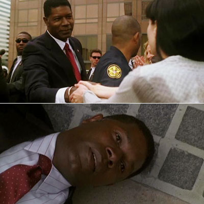 24, Dennis Haysbert | KILLER HANDSHAKE Day 2 — 7:00am-8:00am Remember evil hottie Mandy? 'Course ya do! Well, she shows up again at the end of Day 2 and…