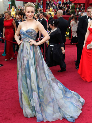 Rachel McAdams | RACHEL MCADAMS Prints don't always play on the red carpet, but McAdams was a work of art in a watercolored Elie Saab gown. Grade: A
