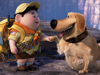 DUG (animated; Yellow Lab) Up! Answers the eternal question: What is your dog thinking? ''SQUIRREL!''
