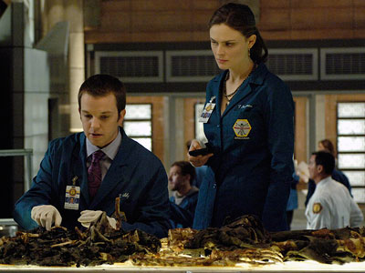 Bones, Emily Deschanel   ''The lab-coats that are worn by our background actors are embroidered with names of Bones crew members and often the extras know whose jacket they…
