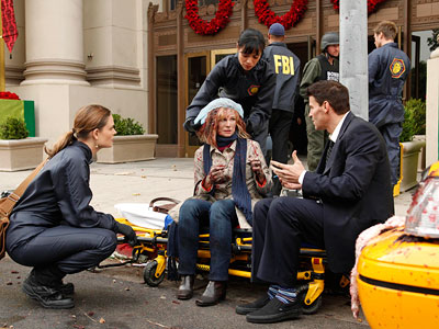Bones, David Boreanaz, ...   ''The exploded bits of 'flesh' on the cab in the bank robbery episode were made of raspberry preserves.'' Bonus fun fact: ''The writers' room has…