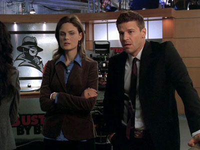 Bones, Emily Deschanel, ...   ''In Season 3's 'Man in the Outhouse,' the 'Busted by Bill' television studio was a set from the Kelsey Grammer/Patricia Heaton comedy Back to You…